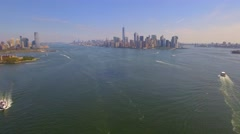 Low aerial approach Manhattan Stock Footage