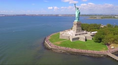 Tourists visiting the Statue of Liberty Stock Footage