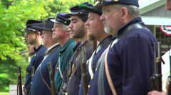 Civil War soldiers shoulder their guns Stock Footage