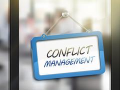 Conflict management hanging sign Stock Illustration