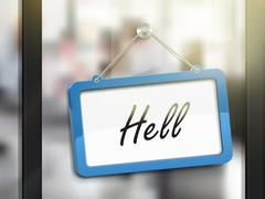 Hell hanging sign Stock Illustration