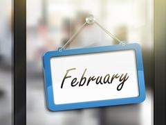 February hanging sign Stock Illustration