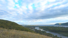 Top view of the river, islands and mountains on the horizon. Stock Footage