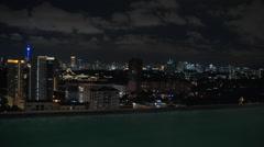 View to night Kuala Lumpur from rooftop pool, Malaysia Stock Footage