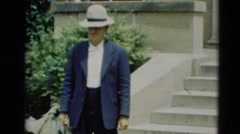 1951: a person wearing a hat is seen outside posing WILLMAR, KENTUCKY Stock Footage
