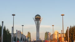 Astana, Kazakhstan - Bayterek - the central point of interest Stock Footage