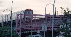 Brooklyn Subway at sunset - 4k Stock Footage
