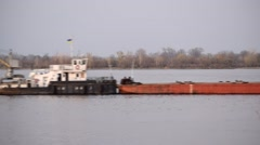 Time lapse of long barge on river. Shot in Ukraine Stock Footage