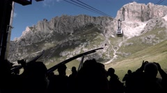 Silhouette of tourist on cableway Arkistovideo