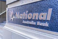 Close-up of National Australia bank signage Stock Photos