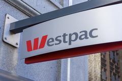 Close-up of Westpac bank signage Stock Photos