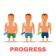 Cartoon guy fit progress, after work out. Vector Stock Illustration
