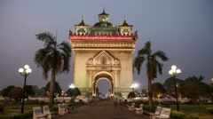 4K Sunset time lapse Victory Gate monument, arc de triomphe, Vientiane, Laos. Stock Footage
