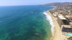 Flight Landing in Main Beach, Laguna Beach, Southern California Stock Footage