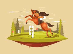 Horse and rider jumping hurdles Piirros