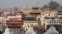 Hindu funeral ceremony at Pashupatinath temple,Kathmandu,Nepal Stock Footage