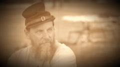 Civil War soldier contemplating war (Archive Footage Version) Stock Footage