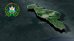 San Salvador with Coat Of Arms Animation Map Stock Footage