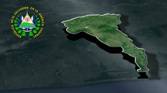 San Vicente with Coat Of Arms Animation Map Stock Footage