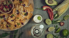 4k Traditional Mexican Food and Beer, Tortilla on Moving Plate Stock Footage