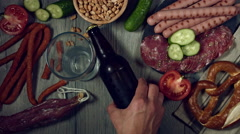 4k Traditional German Beer and Food, Putting the Bottle Stock Footage