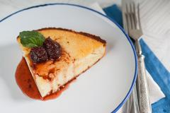 Cottage cheese casserole with strawberry jam Stock Photos
