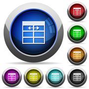 Spreadsheet adjust table column width button set Stock Illustration