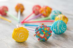 Cake pops with icing. Stock Photos