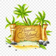 Paradise Island with ancient parchment script banner Stock Illustration