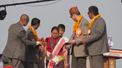 Awards ceremony at festival,Chitwan,National Park,Nepal Stock Footage
