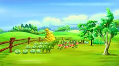 Rural Landscape with Vegetable Garden in a Summer Day Stock Illustration
