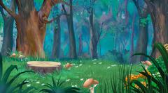 Forest Glade with Big Stump and Mushrooms in a Summer Day Stock Illustration