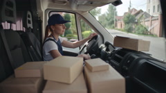 Delivery Worker Using Gadget Stock Footage