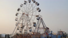 Ferris wheel at festival,Chitwan,National Park,Nepal Stock Footage