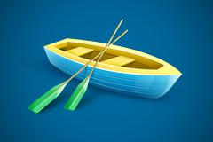 Wooden boat with paddles for fishing Piirros