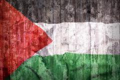 Grunge style of Palestine flag on a brick wall Stock Photos