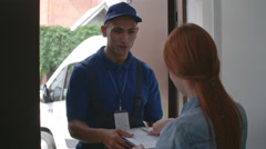 Receiving Home Delivery Order Stock Footage
