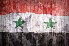 Grunge style of Syria flag on a brick wall Stock Illustration
