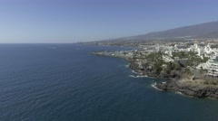 TENERIFE, SPAIN – SEPTEMBER 2016: Panoramic aerial view of Playa de Las Stock Footage