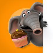 Fun elephant - 3D Illustration Stock Illustration
