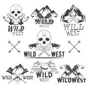 Vector set of wild west badges. Isolated emblems, labels, logos with skulls Stock Illustration