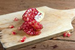Pomegranate fruit cut dissect Stock Photos