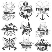 Vector set of monochrome fishing trip emblems. Isolated badges, labels, logos Stock Illustration