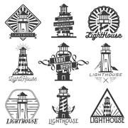 Vector set of vintage style lighthouses. Isolated logos, badges, emblems, icons Stock Illustration
