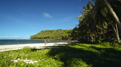 Moving back from a tropical beach with sand and green leafy vines, Philippines Stock Footage