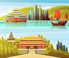 Hong Kong Horizontal Banners Stock Illustration