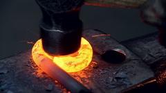 Iron hamered on anvil Stock Footage