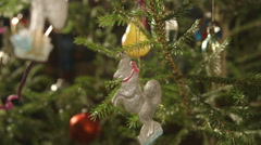 Rare antique vintage russian Christmas tree decorations glass cardboard ornament Stock Footage
