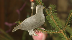 Rare antique Dresden pressed cardboard ornament on Christmas tree Stock Footage