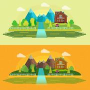 Flat design nature landscape illustration with sun, hills and clouds Stock Illustration